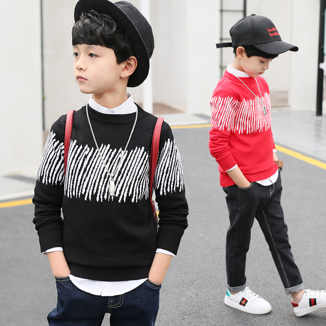 Autumn Spring Toddler boys sweater baby kids knitwear colorful Stripe pattern long sleeve pullover top children cloth
