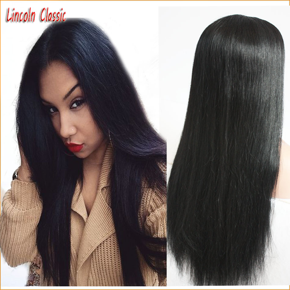 New Soft Silky Straight Wig Human font b Hair b font Silk Top Lace Front Wig