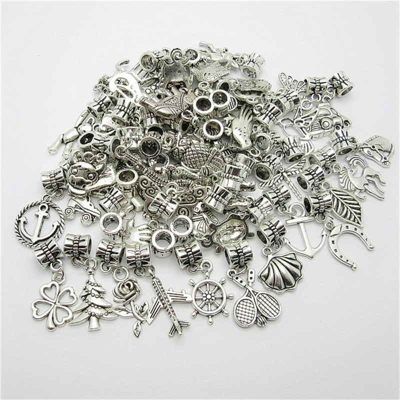 Mix 30pcs Antique Silver Charm Big Hole Loose Beads European Pendant fit Pandora Charms Bracelets Necklace
