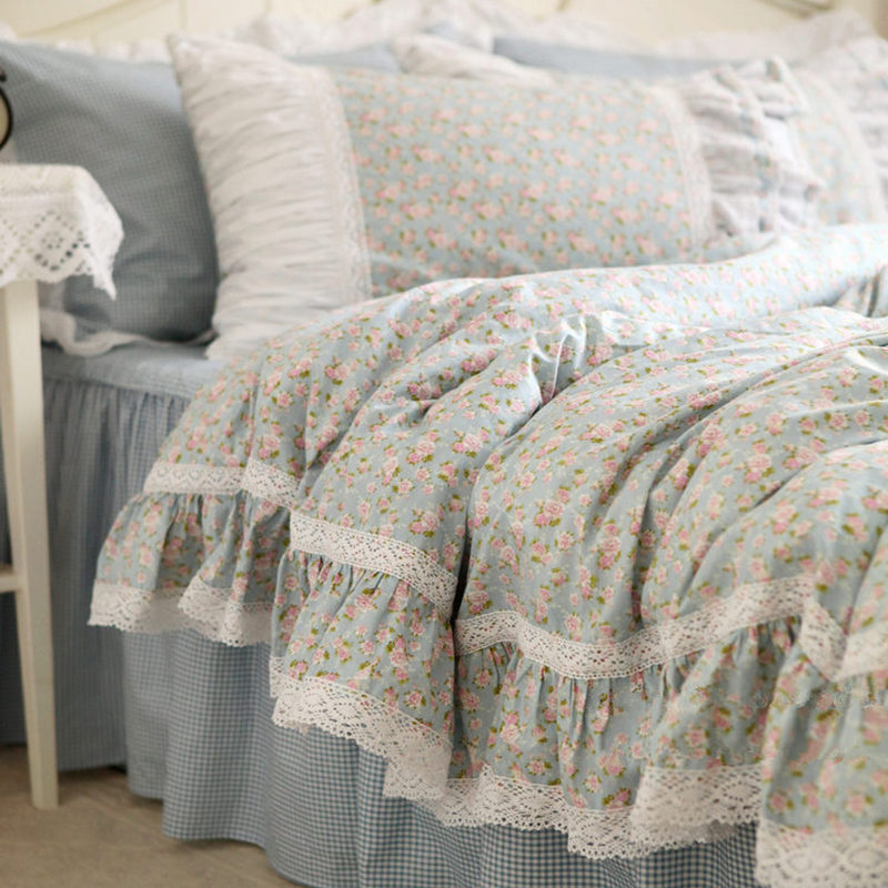 Hot rustic fresh flowers print bedding set lace ruffle duvet cover Embroidery bed sheet elegant bed skirt bedspread for bedding-in Bedding Sets from Home & Garden    1