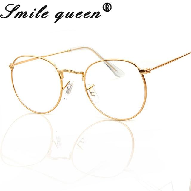 Fashion Gold Glasses Frame Women Men Round Metal Frame Mirror Clear ...