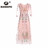 ROHOPO Платье женское марлевая ткань лето весна повседневное розовое платье женские лодыжки длина v образный вырез жаккардовое платье с вышив