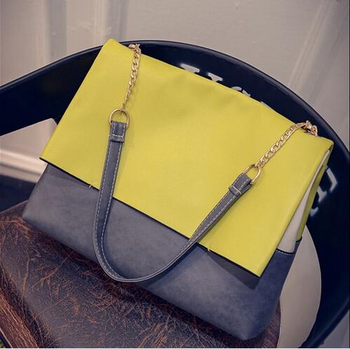 ФОТО New Women Ladies retro Celebrity Tote Bag Pu leather Handbags Contrast Colors Brand Casual Satchel Bag Shopping bags