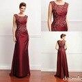 2016 New Arrival Applique borgonha Mãe dos Vestidos de Noiva com Colher Neck lace Beads Zipper Voltar Mãe do Terno Do Noivo vestidos