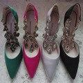 2016 primavera e verão moda sexy strass apontou toe de salto alto sapatos de saltos finos sapatos sedas e cetins de cristal vermelho