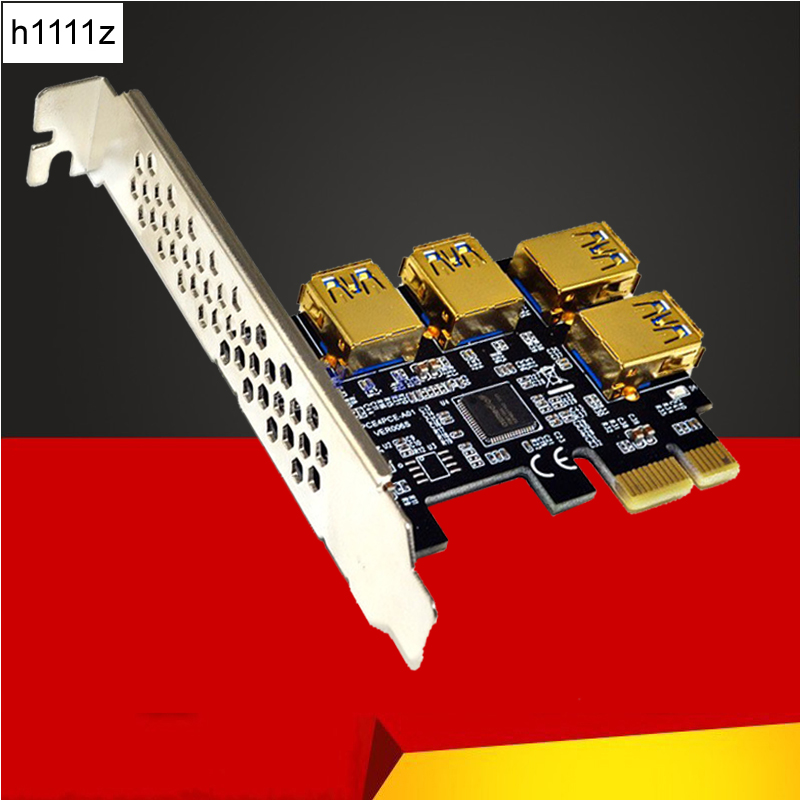 4 Port USB3.0 Riser Card Gold PCI-E 1 to 4 PCI Express 16X Slot External Adapter PCIe Port Multiplier Card for BTC Mining