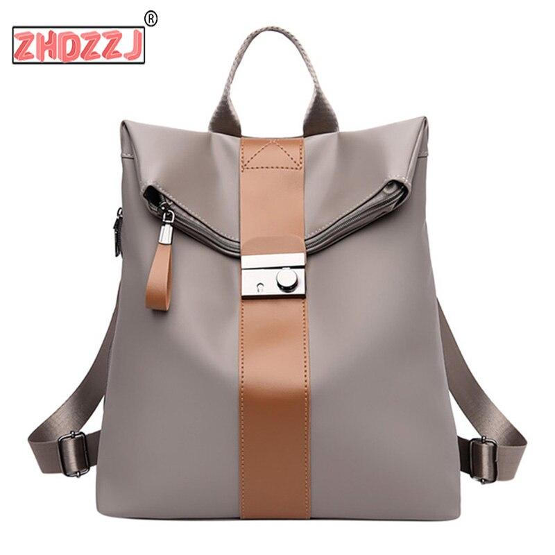 Backpack Girls Schoolbags Women Flexo Large-Capacity Waterproof Nylon Fashion Student