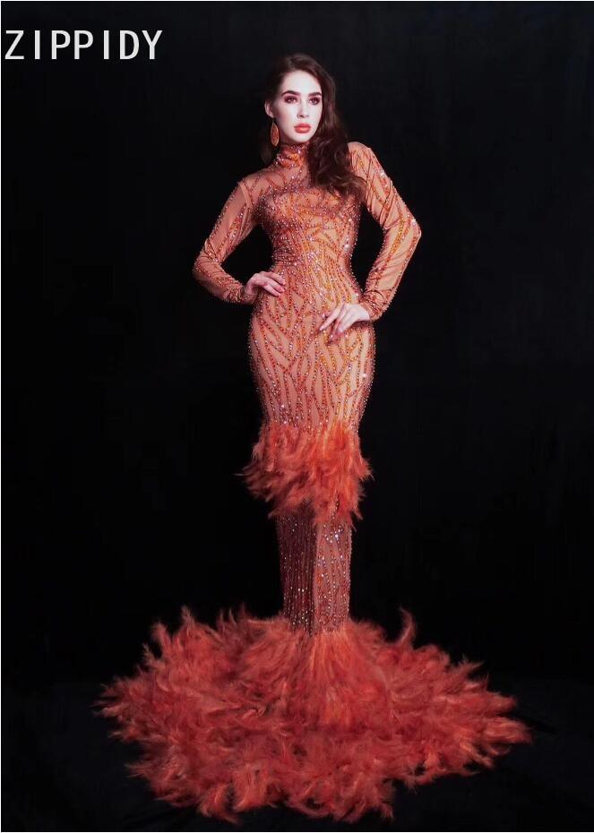 2019 Red Rhinestones Feather Dress Birthday Celebrate Women Dress Prom Evening Stage Singer Dancer Long Train Dress