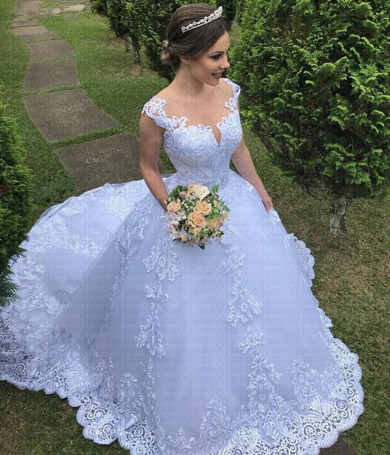 Vestido De Noiva China Bridal Gowns Gorgeous White Appliques Lace Ball Gown Wedding Dress 2019 Bride Dresses Robe De Mariee