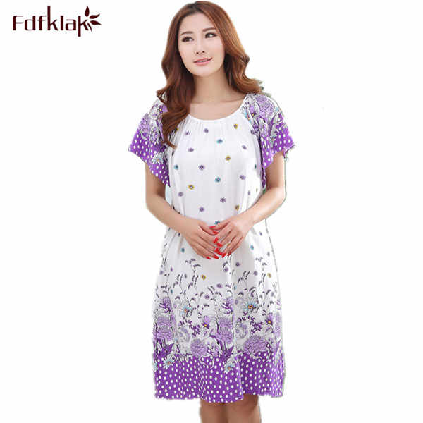 Plus Size Nightgowns For Women 2019 Summer Dressing Gowns Girls Nightshirts Nightdress Cotton And Silk Sleepshirt L-XXL E1082