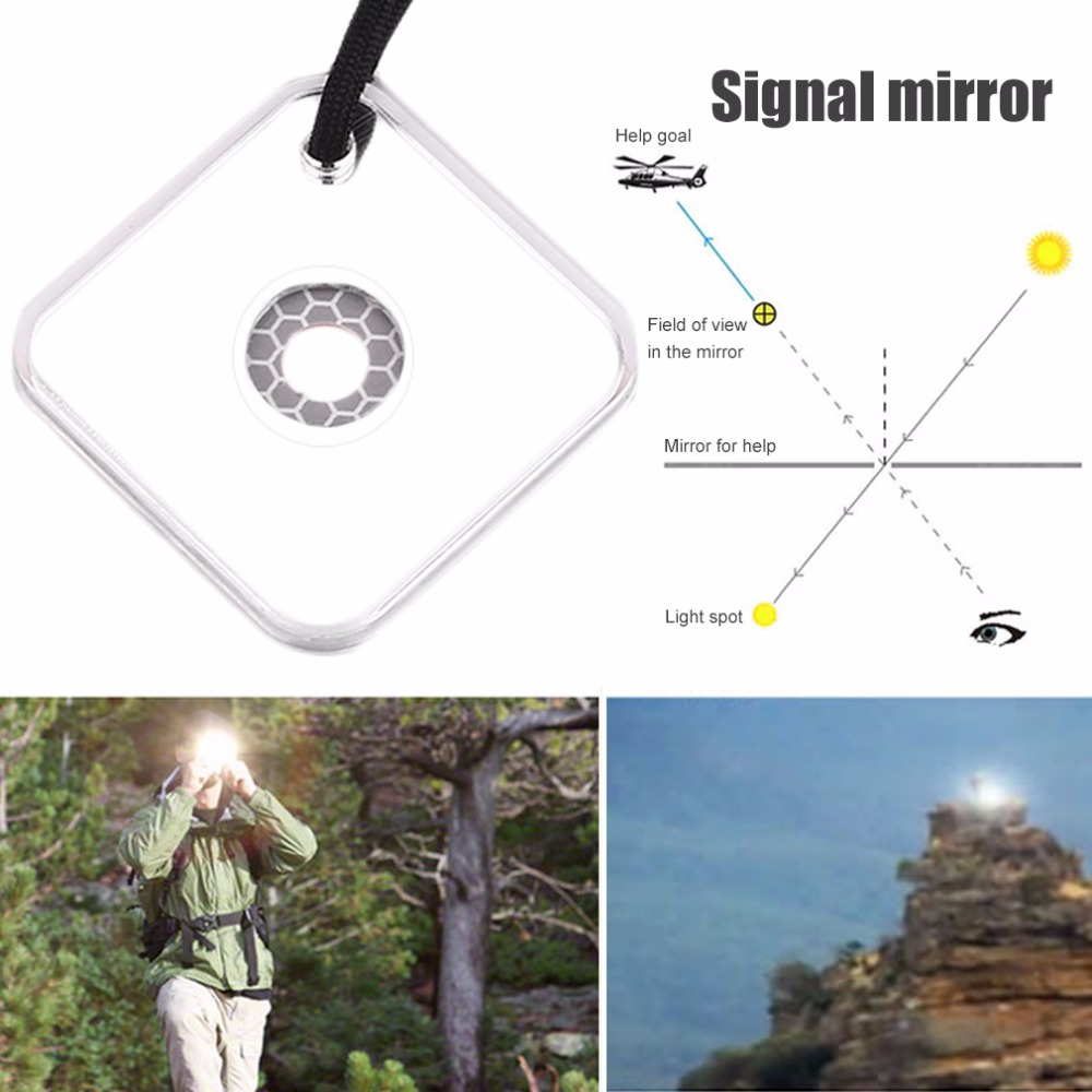 Heliograph Signal Mirror With Whistle Multifunctional Outdoor Emergency Survival Tool With Targeting Function First Aid Kits in Safety Survival from Sports Entertainment