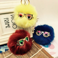 2016 Hot New Design Cute Fur Keychains Pompom Fur Ball Key Ring for Women Bag Rose Gold Metal Rabbit Fur Keyrings Keychain Glass