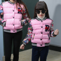 matching mother daughter clothes winter wadded jacket outerwear 2016 floral letter child cotton-padded jacket family clothing
