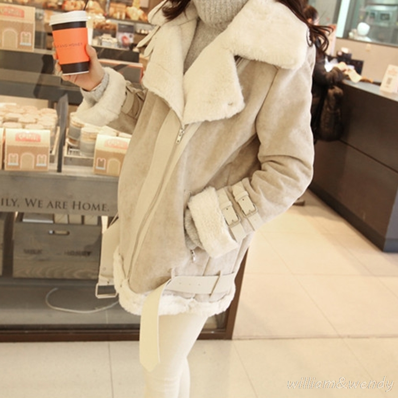 2017 Fashion Women Winter Warm Woolen Coat Cheap Chinese Suede Quilted Jacket Fur Collar Palto Elegant Korean Solid White Cloak