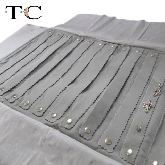 Pro Jewelry Roll up Case Travel Storage Bag for 60 Earrings Grey