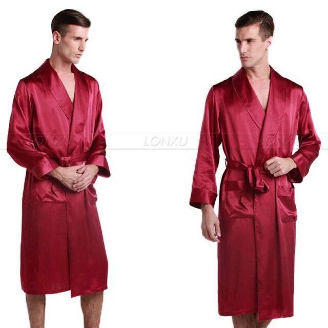 Para hombre de Seda de Raso Robes Albornoz Camisón Ropa De Dormir Pijamas S ~ 3XL Plus _ _ Fit All Seasons