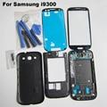 Para samsung galaxy s3 iii gt-i9300 ~ Cobertura completa Habitação & Tela de Vidro Da Frente & ferramentas ~ Substituição de Peças de Reparo Do Telefone móvel