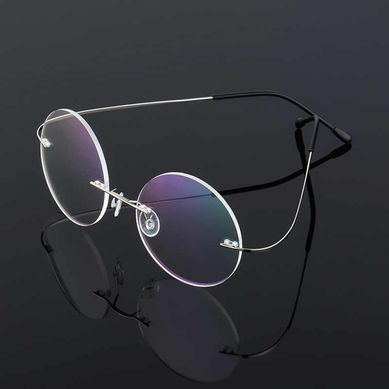 eae7faf6daec Steve Jobs Star Style Ultra-light Memory Titanium Wired Rimless Round  Myopia Eyeglasses Optical Glasses