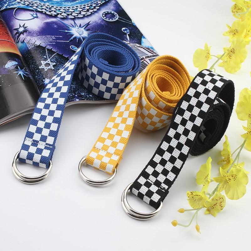 Jeans Ring-Buckle Waist-Belts Checkered Long-Strap Canvas Plaid Double-D Female Black
