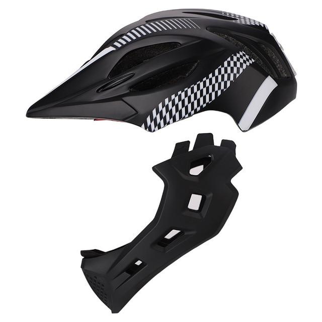 Crianças led rosto cheio mountain bike capacete equilíbrio bicicleta esportes segurança crianças completa coberto capacetes downhill scooter bmx criança 46-53cm 6