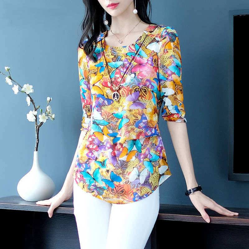 2019 New Butterfly Chiffon Blouse Women Short Sleeve Plus Size Summer Tops O Neck Midi Tees Vestidos Ladies Clothes