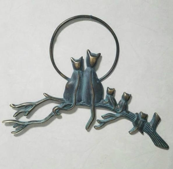 Cast Brass Cats on Branch Home Wall Decoration Copper Animal Antique Metal Hanging Creative Crafts Ornaments Vintage Retro Gifts