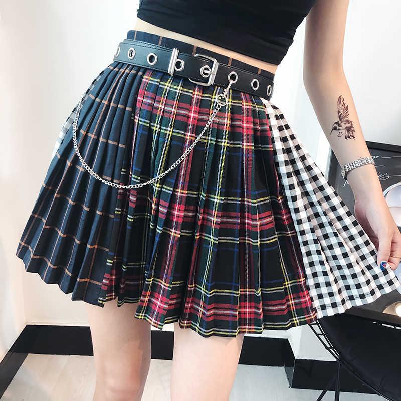 472c20b9e7 England Style High Waist Plaid Mini Skirts Fashion Women Harajuku A Line  Short Patchwork Pleated Skirt