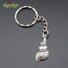 Hapiship 2017 Women Men s Fashion Handmade Vintage Silver Conch Key Chains Key Rings Alloy Charms