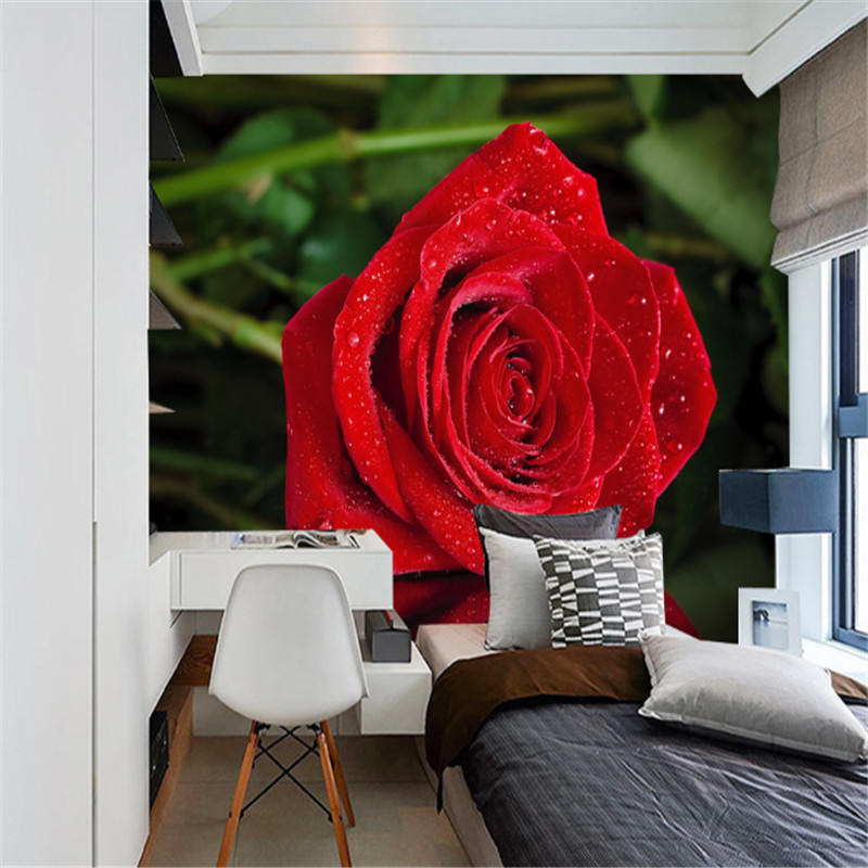 custom 3d wallpaper modern style romantic red roses reflection living room bedroom TV background wall decorative painting pink romantic sakura reflection large mural wallpaper living room bedroom wallpaper painting tv backdrop 3d wallpaper