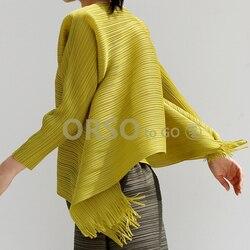 Changpleat Весна новая свободная женская футболка Miyak плиссированная оригинальный дизайн сплошной большой размер кисточкой женские футболки Мо...
