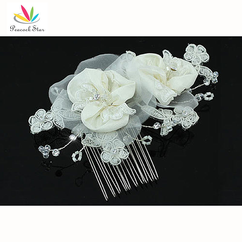 Bridesmaid Bridal Wedding Party Handmade Ivory Fabric Flower Crystal Hair Comb CT1430