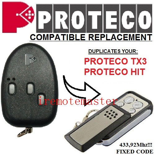 PROTECO TX3,HIT Replacment Remote Duplicator 433,92MHZ FIXED CODE Free Shipping