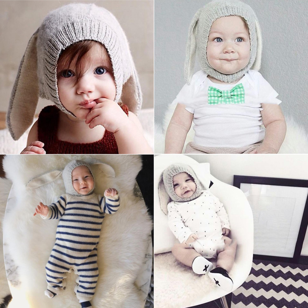 Baby Hats Rabbit Ears Knitted Kids Caps 2018 Autumn Winter Baby Girls Hats Lovely Infant Toddlers Beanies for Baby Photo Props ywmqfur handmade women s fashion natural knitted rex rabbit fur hats female genuine winter fur caps lady headgear beanies h15