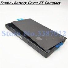 원래 전체 주택 lcd 패널 중간 프레임 소니 xperia z5 컴팩트 e5803 e5823 배터리 도어 커버 측면 단추 로고
