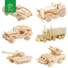 Robud DIY 3D Wooden Car&Animal Puzzle Children Kid Natural Wood Toy Model Building Kits Educational Hobbies Gift JP150(China)