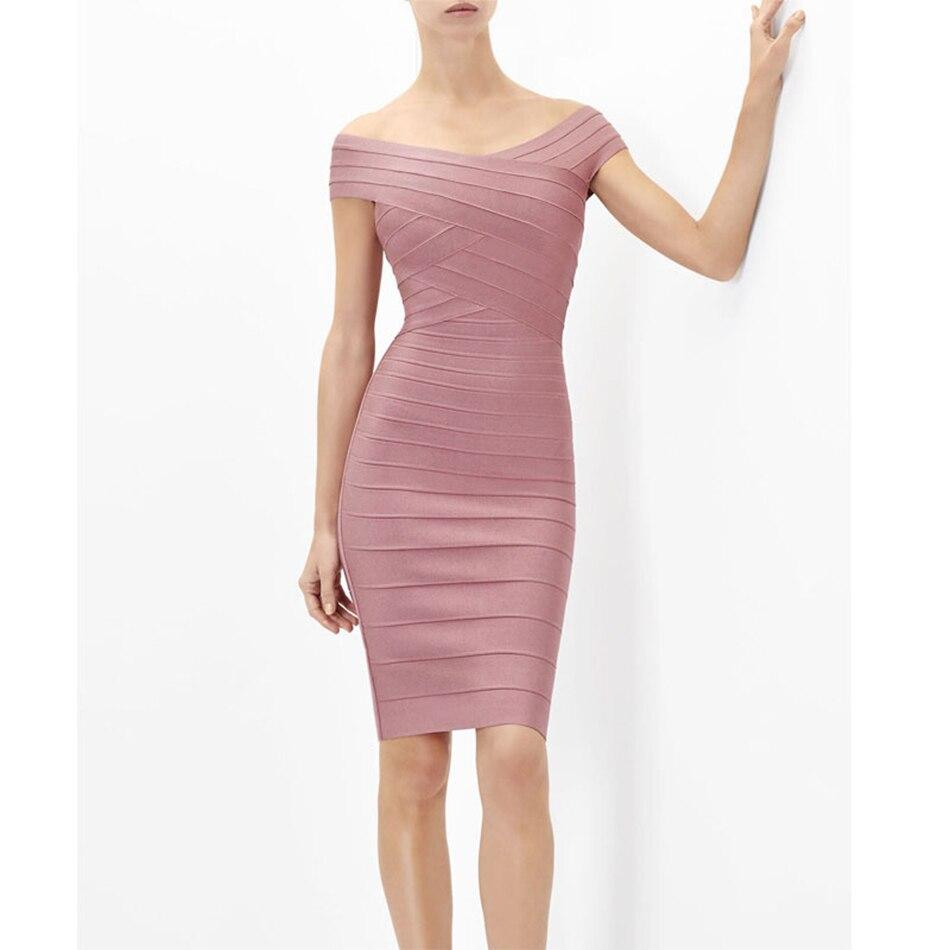 2016 Women Winter Dress Sexy Celebrity Runway Bandage Dress Pink Black Blue Slash Neck Bodycon Lady