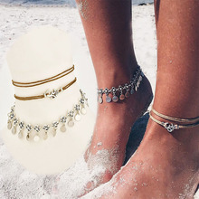 3Pcs/Set Fashion Jewelry on foot hot Flower Anklet Set Multilayer Crystal Leather Round Anklet Bracelet chain for women girls chic multilayer small bells anklet for women