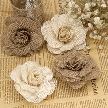 2/3/5 adet 9cm el yapımı jüt Hessian çuval bezi gül çiçek Vintage rustik düğün dekorasyon jüt noel süslemeleri için ev
