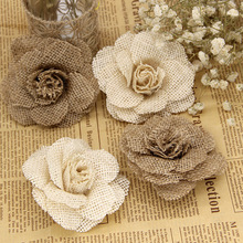 2/3/5 stücke 9cm Handmade Jute Hessischen Sackleinen Rose Blumen Vintage Rustikalen Hochzeit Dekoration Jute Weihnachten Dekorationen für hause