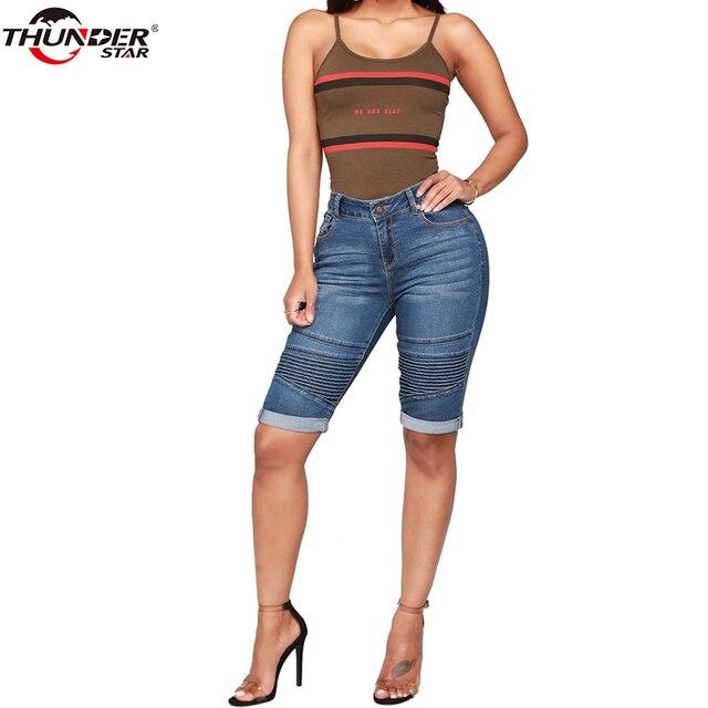 Denim Bermuda Shorts Donne di Mezza Vita di Lunghezza Del Ginocchio Elastico Shorts Estate Curvy Stretch Moto Brevi Dei Jeans Dei Pantaloni 4