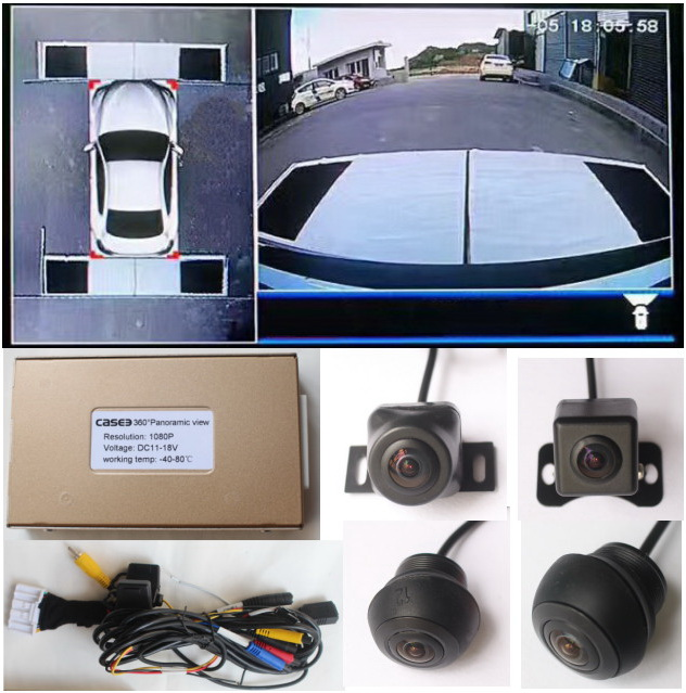 2D Car blind spot shadow area detection system 360 degree camera Bird eye view Auto monitoring