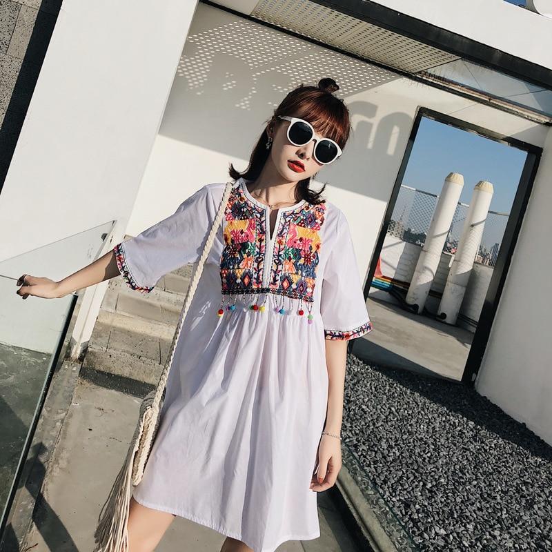women vintage floral embroidery tassels 100% cotton dress half sleeve o neck casual retro female mini dresses vestidos mujer