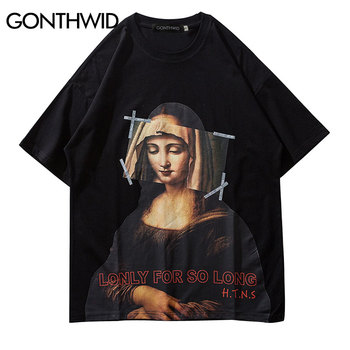 GONTHWID Mona Lisa T Shirts Streetwear Men 2019 Hip Hop Harajuku Style Casual Printed Short Sleeve Tshirts Male Fashion Top Tees