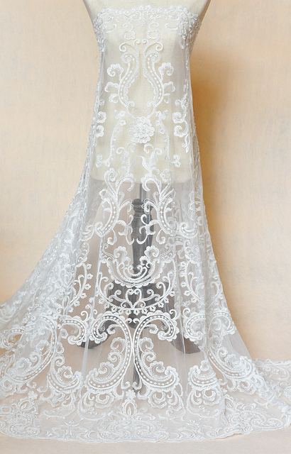 European Luxury Wedding Dress Lace Fabric Sequins Beads Mesh Embroidered Lace  Fabric Clothing Decorative DIY Width