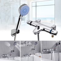 One Set Thermostatic Bathroom Taps Bath Shower Mixer Tap Handset Deck Mounted Valve Kit