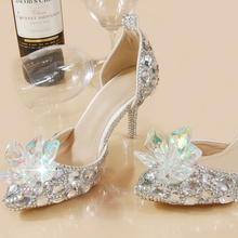 2016 Two-Pieces Women Glass Slipper Sandals Crystal Wedding Shoes Bride Princess Point A Word Buckle Female Shoes Big Size 33-41