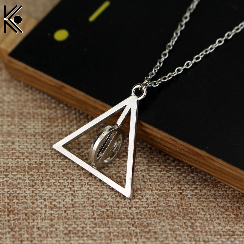 2019 Fashion Long Necklaces Deathly Hallows Pendant Necklace Triangle Rotatable Intermediate Resurrection Stone Necklaces