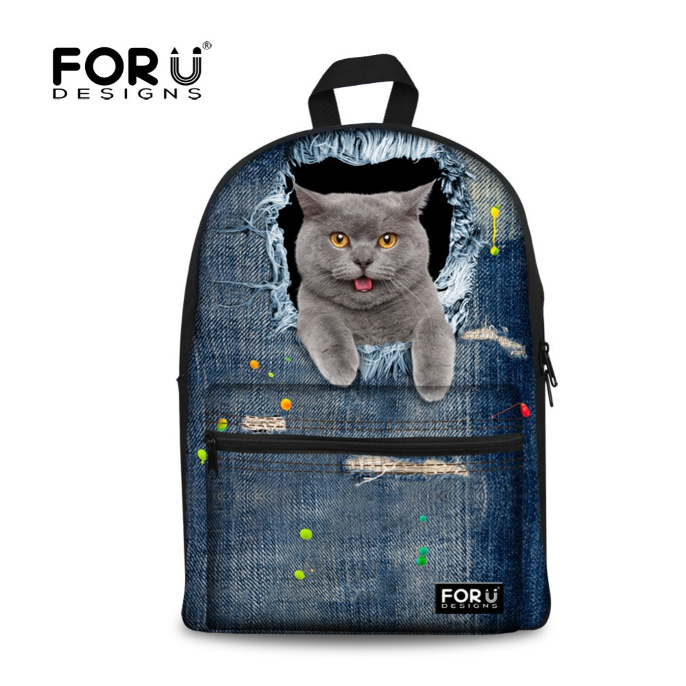 Vintage Girls Denim School Bags for Teenagers Cute Schoolbag Jeans Cat Dog Printing Canv ...