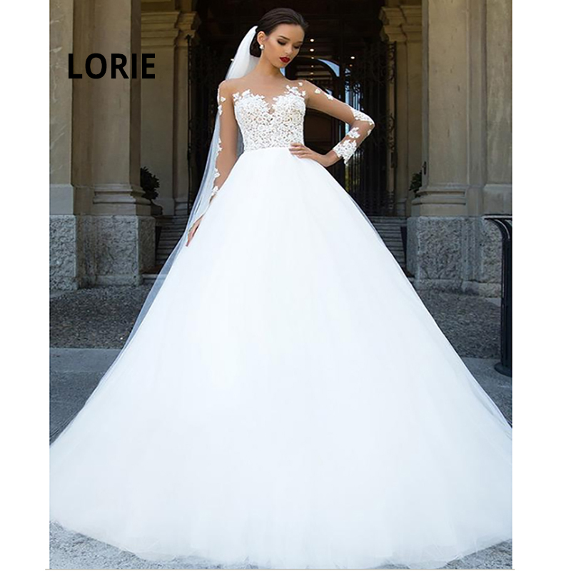 LORIE Elegant Lace Appliques Long Sleeve Wedding Dresses Ball Gown Wedding Gowns Fluffy Boho Bride Dress