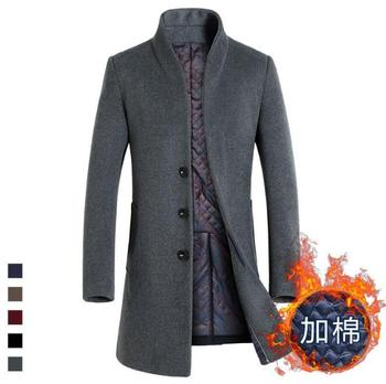 2020 new plus cotton autumn and winter men's wool coat in the long section thick woolen coat coat men's clothing